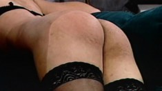 A sexy tranny enjoys some bondage play as her boyfriend watches