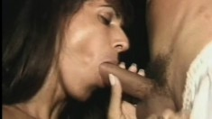 Bootylicious Latin transsexual gives impressive blowjob to hungry studs
