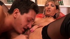 Lustful cougar has a young stud and a dirty old man sharing her pussy