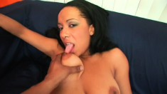 Light skinned ebony gives BBC a POV blowjob then climbs on for a ride