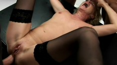 German blonde milf in black stockings Connie Carey has five guys banging her holes