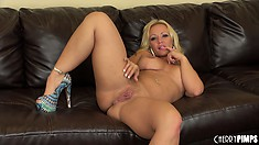 Austin Taylor is a dazzling blonde with splendid tits, a divine ass and a wild cunt