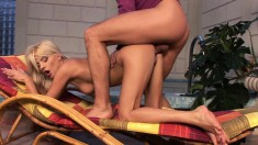 Blonde cutie Jasmine Rouge gets her feet licked and her snatch pounded