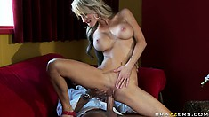 Hot blonde MILF with tattoos and big silicone tits gets nailed in the restaurant