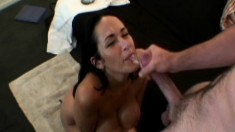 Stacked Carmella Bing blows a long dick and gets her pussy eaten out