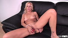 Blonde Payton Leigh toys ass out, then turns around and spreads wide