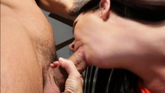 Stacked brunette milf Rayveness gets drilled rough by a younger guy