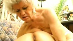 Two lesbian grannies do some double dildo fucking and toy fuck each other