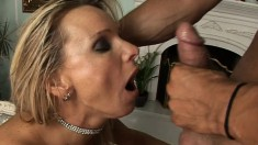 Two insatiable blondes take turns blowing and fucking a throbbing dick