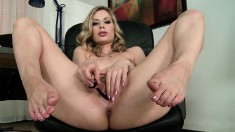 Stunning blonde can't get enough of teasing the camera with her feet