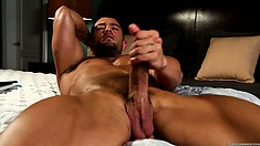 Llying on his back on the bed, he strokes his dick with fervor and joy