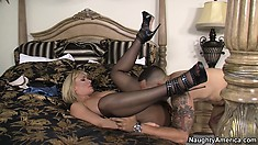 Mellanie sensuously moves on top of him riding his cock with great enthusiasm