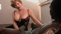 Kinky blonde mom in lingerie Diane Richards is a sucker for black cock