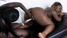 Black lesbians go down on their pussies and stick in some toys