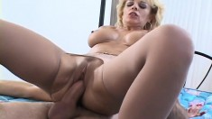Naughty Blonde Milf With Big Hooters Gets Pumped Full Of Young Meat