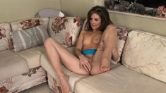 Dazzling young babe Candace Cage fucks a hard stick every way she can