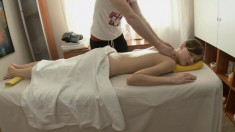 Sexy Slim Young Cutie Enjoys A Relaxing Massage And A Deep Drilling