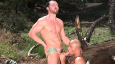 Two horny hunks sneak off for hot blowjobs and anal sex outdoors