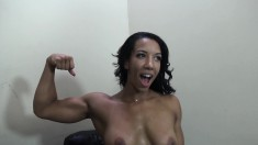 Sensuous brunette with big tits Sophia Fiore is addicted to dark meat