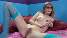 Nerdy blonde with big tits Allie James plays with sex toys and squirts