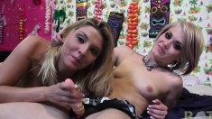 Sultry girls Ash and Lexi have fun with a strap-on toy and a hard dick