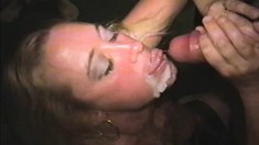 Darian worships a gang of hard dicks and gets covered in fresh semen