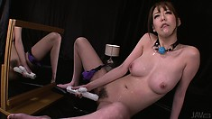 The Stacked Milf Drives A Huge Dildo Deep In Her Pussy Until She Reaches Her Climax