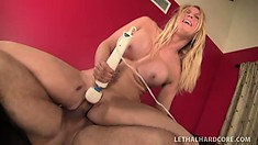 Slutty blonde bitch eats his ass, then his cock, and ends up with a cum treat dessert