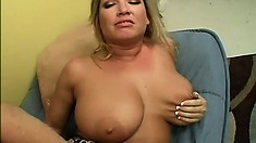 Big breasted blonde cougar Rachel has a wet pussy yearning for a young stud's cock