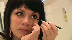 Cute brunette teen gets prettied up with make up before clubbing
