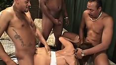Ava Devine, a buxom Asian milf with a fabulous ass and hot legs, fucks three big cocks