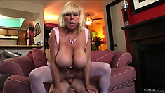 Grandma with silicone tits banged hard in her experienced pussy