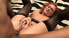 Hot redhead Donna gets a gaping asshole from his big black stick