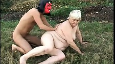 Fat old farmer gets her ancient cunt wrecked by a young dick
