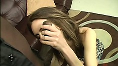 Skinny as fuck brunette teen gets that pussy wrecked by a BBC