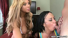 Mariah Milano and Brooklyn Lee are eagerly taking that cock inside