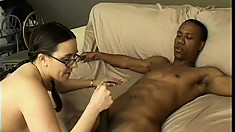 Nerdy Milf in glasses blows his black stick and gets her twat nailed