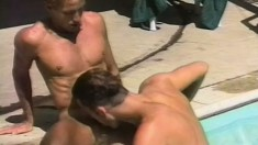 Romantic gay couple makes out by the pool before fucking hard