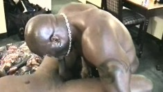 Two muscly gangstas sing a sweet tune with cock in their black ass