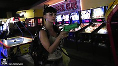 Aletta is a gamer and enjoys the arcade with her sexy blonde gal pal