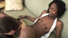 Insatiable white guy is eager to drill an ebony hottie's wet slit