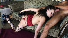 A squealing chick in fishnets enjoys being treated like a slut