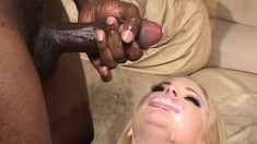 Fair blonde with thick ass is brave enough for fucking group of crazy BBC's