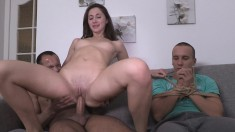 Wife cuckolds her husband and ties him up to watch her fuck another man