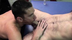 Nick Tiano and Owen Powers suck each other's cocks and enjoy anal sex