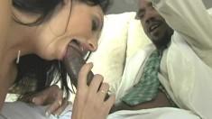 Skinny brunette hussy gets some meat from a big black schlong