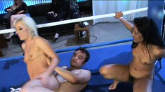 Angela Stone and Layla Lei get into a threesome in a boxing ring