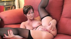 Stacked wife in high heels and black stockings Joy exposes her holes