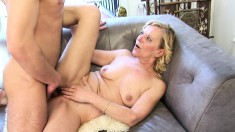 Adorable blonde mommy gets her hairy snatch drilled like she desires