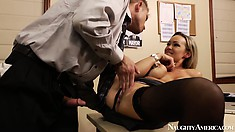Sexy blonde Abbey Brooks gets felt up and ass checked out and fingered